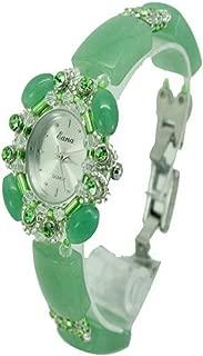 Watch Wrist Watch Natural Jade Crystal Heart-Shaped Bracelet Wristwatch Creative Waterproof Quartz Watch with Rhinestone for Women Ladies Gifts, Fashion Watch