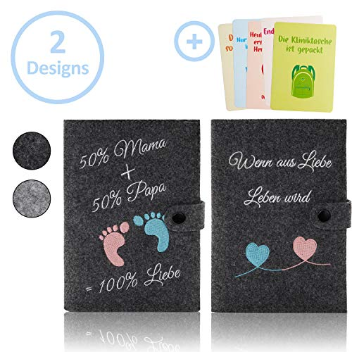 Little Moonshine Premium Mutterpasshülle aus reinem Filz (Dunkelgrau) - stylische und beständige Hülle für den Mutterpass - Platz für Bilder, Karten und Dokumente - Idealer Begleiter für Schwangere