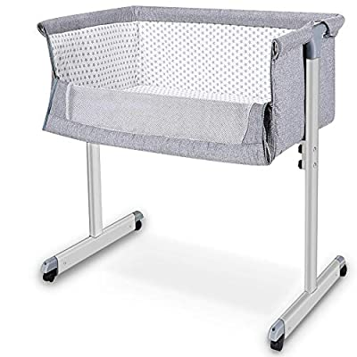 Baby Crib, Baby Bassinet, Baby Bedside Sleeper, Newborn Baby Crib, w/Detachable & Washable Mattress, Straps, Easy Folding Movable Cradle for Newborn Infants, Angle Adjustable, Breathable Mesh(Grey)