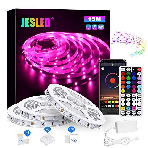 JESLED Striscia LED RGB Musicale 15M, Autoadesiva Striscia Luminosa 24V LED Strip RGB, Bluetooth Musica Sync, App Control, 44 Tasti Telecomando, per Camera Cucina Sottopensile Decorazione