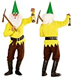 Checklife Disfraz de enano Gnome rojo, amarillo, azul y verde, disfraz de enano para carnaval 901623 (tamaño pequeño, amarillo)