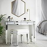 Beautify Console Coiffeuse Blanche à Effet Miroir avec 2 tiroirs et poignées en Cristal : mobilier de Chambre à Coucher...