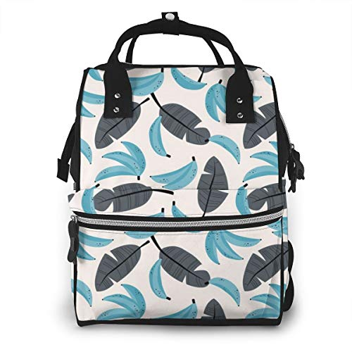 BOFJHASIFHAOAS Bananas And Leaves Mummy Bags Multi-Function Travel Backpack Nappy Bag
