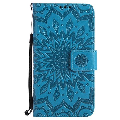 Ysimee Coque LG K5, Étui Portefeuille Magnétique en Cuir Fleur en Relief Folio Housse Con Antichoc TPU Bumper Poche de Cartes Fonction Support Coque à Rabat pour LG K5,Bleu
