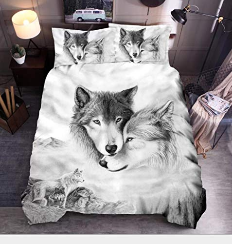 aakkjjzz Single Duvet Cover Sets 3 Pcs Easy Care Luxurious Bedding Set Microfiber for Kids Boys Girl Wolf Quilt Duvet Cover 135X200cm and 2 Pieces Pillowcases 50X75cm for Double Bed