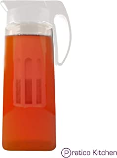 FusePour Pitcher with Iced-Tea & Fruit Infuser - Makes Hot/Cold Tea, Juice & Other Drinks - Large 2.2 Quarts