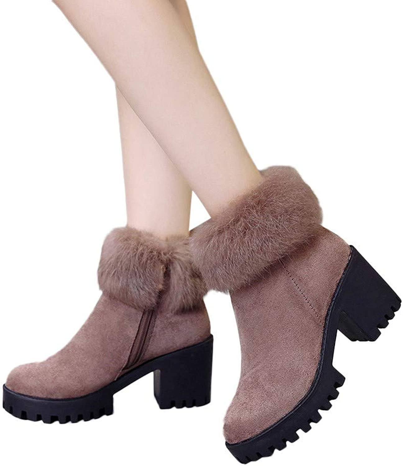 A-LING Fashion Women's High Heeled Velvet Thick Warm Waterproof Zipper Ankle Booties