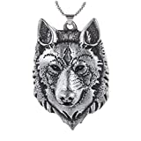 Paw Paw House Mens Wolf Head Necklace Pendant for Dog Lover Men Norse Viking Warrior Arrow Headed Amulet Jewelry 4043