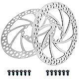 Fippy Bremsscheibe 180mm 6 Loch 2 Stück Edelstahl Fahrrad Bremsscheibe mit 12 Schrauben für Rennrad, Mountainbike, MTB, BMX