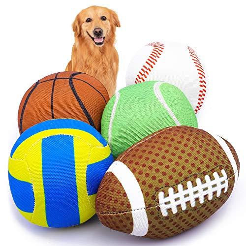 VIEWLON Juguetes para Perros con Sonido - 5 Pack Pelota de Juguete para Perritos Pequeños, Cachorros y Medianos, Resistante Masticar de Bolas para Entrenamiento Exterior