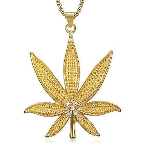 BOBIJOO JEWELRY - La Imposición De La Hoja Colgante De Cáñamo Cannabis Marihuana De Diamante De Imitación De Acero De Oro + Cadena