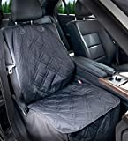 Bulldogology Front Seat Cover for Dogs - 100% Waterproof Heavy Duty Scratch Durability, Nonslip Backing, Quilted, Padded, Pet Seat Covers for Cars, Trucks, Vans, and SUVs (Black)