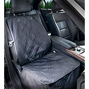 Bulldogology Front Seat Cover for Dogs – 100% Waterproof Heavy Duty Scratch Durability, Nonslip Backing, Quilted, Padded, Pet Seat Covers for Cars, Trucks, Vans, and SUVs (Black)