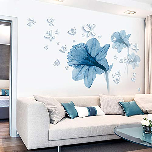 Pdrui Adesivi Murali Per Camera Da Letto, Fiore Blu Adesivo Da Parete Decorazione Per Soggiorno Stanza dei Bambini 85×120 cm | Stickers Murali Decorativo Per Corridoio Cucina Finestra