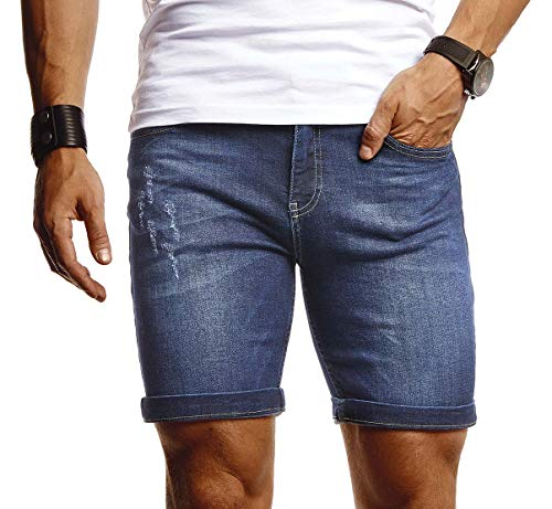 Leif Nelson Herren Shorts Jeans Stretch Kurze Hose für Sommer Slim Fit Basic Kurze Jeanshose für Männer Denim Jungen weiße Freizeithose Chino Cargo Bermuda LN1397 Dunkel Blau W32
