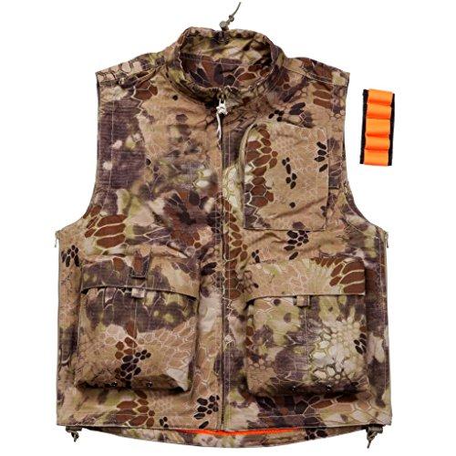 REEBOW GEAR Gilet tactique d'extérieur multi-poches pour la chasse, la photographie, le camouflage python, taille L