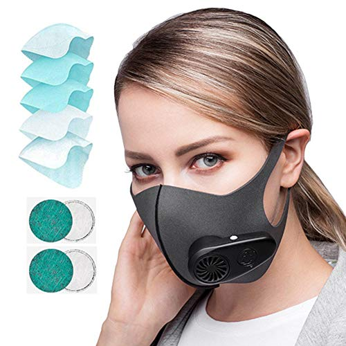 Black Smart Electric Face Protector Shield with 5 composite filter Anti Pollution Air Purifier Respirator Anti Dust Washable Reusable Activated Carbon Filter