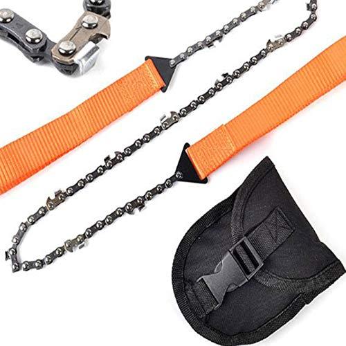 Sierra de cadena de supervivencia portátil de mano, sierra de mano de bolsillo de motosierra de supervivencia, para acampar, caminar, viajar