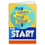 Afie Carte Bon Départ Bleu Brillant Collègue Travail Entreprise Au Revoir Nouvelle Vie Bonne Route Heureuse Retraite Fabriqué en France