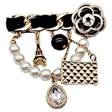 XXCHUIJU Crystal Charms Tower Handbag Esmalte 5 Letra Broches para Las Mujeres Pasarela Lindo Pearl Camellia Insignia Broche Pins Marca Joyería