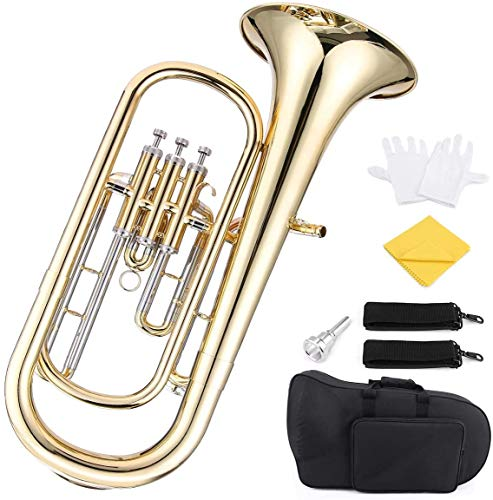 ammoon Brass B Flat Baritone Horn Bb Piston-Style Gold Lacquer Surface Wind Instrument with Mouthpiece Gloves Cleaning Cloth for Beginners Brass Band
