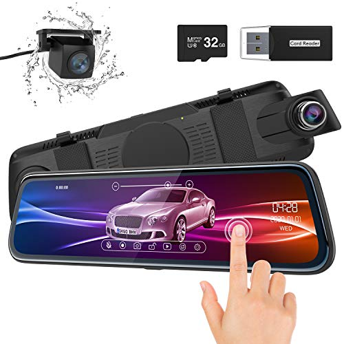 ThiEYE Backup Camera Mirror Dash Cam 1080P 10' IPS Full Touch Screen Front and...
