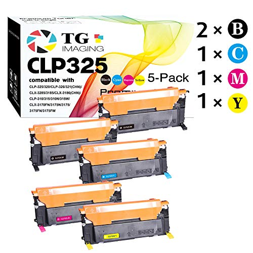 (5-Pack, Extra Black) Compatible CLT-407S CLP325 Toner Cartridge for use in Samsung CLP-320 CLP-321 CLP-325 CLP-326 CLX-3180 CLX-3185 Printers, Sold by TG Imaging