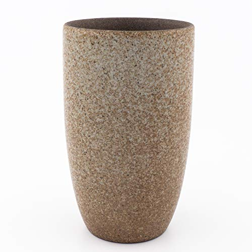Designer Tassen aus Steinzeug mit verschiedenen Glassuren | Ideal für Kaffe, Tee, Barista und Spezialitäten Kaffe | Einzeln oder als Set mit gratis Bambustablett (Naturstein mit glänzender Glasur, 1)