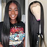 Lace Front Wigs Human Hair with Baby Hair Bleached Remy Brazilian Straight 13x4 Lace Wigs for Black Women 150% Density Natural Color Lace Front Wig (22, nature off black)