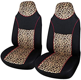 AUTOYOUTH 2PCS Trendy Leopard Pattern Integrated Front Bucket Seat Cover Velvet Fabric Black Auto Accessories Universal Fits for Most Cars, SUV, Truck ¡ (YELLOW-2)