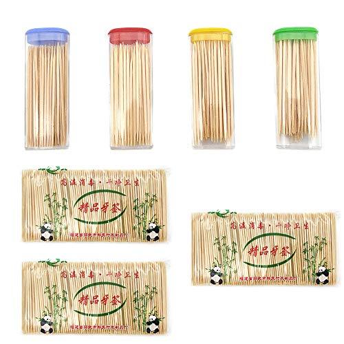 SJUNJIE 1000 Stück Zahnstocher Holz 65 mm Rund Hölzerne Cocktail Zahnhölzer Toothpicks in Spenderbox für Zahnhygiene Häppchen Basteln Cocktailspieß Appetizer