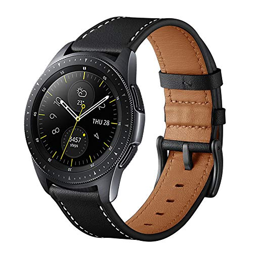 Aimtel Compatible Samsung Galaxy Watch (42mm) Bands,20mm Genuine Leather Strap Band Stainless Steel Compatible Samsung Galaxy Watch SM-R810/SM-R815 /Gear Sport/Suunto 3 Fitness Smart Watch-Black