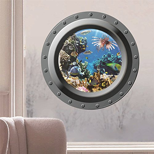 Wandaufkleber u-Bootfenster 3D, Papageienfisch, Fischwandwand, Wohnzimmerschlafzimmer-Hintergrundwand Wasserdicht, Entfernbar.