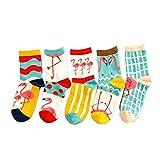 Frauen Damen Süß Baumwoll Socken Flamingo Stil, 5 Paar