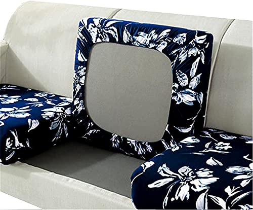 YHQKJ Funda de sillón sofá Sofá Cubiertas de Cojines del Asiento de sofá,Estiramiento Alto for el Protector de Muebles de sofá de cojín,con Fondo elástico (Color : Navy, Size : 2 Seats)