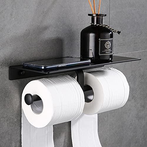 Delmkin - Portarrollos de papel higiénico autoadhesivo con doble rollo de papel higiénico con estante de aluminio, soporte para teléfono, para cuarto de baño, cocina, color negro