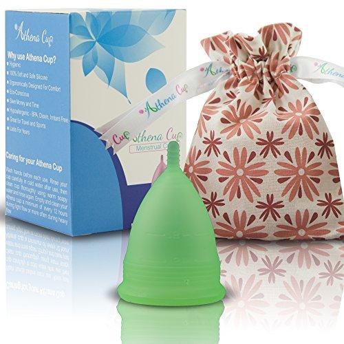 Athena Copa Menstrual – La copa menstrual más recomendada - Incluye una bolsa de regalo - Talla 1, verde transparente - ¡Ausencia de pérdidas garantizada!