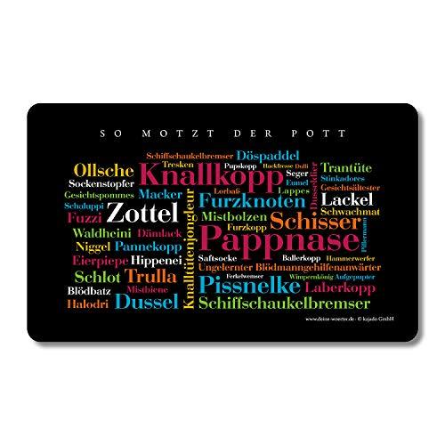 Frühstücksbrettchen Ruhrpott Schimpfwörter, Tagcloud mit schönen Wörtern aus dem Ruhrgebiet. Eine originelle und schöne Geschenkidee