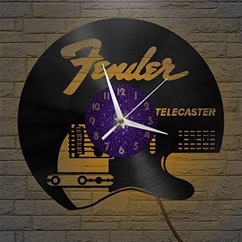 Telecaster Guitarra eléctrica Tocando Reloj de Pared de Vinilo de 12 Pulgadas,...
