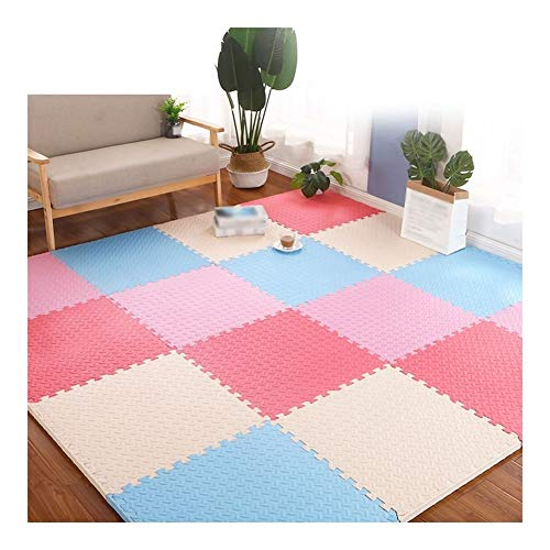 AMDHZ Interlocking Tiles Foam Puzzle Mats child Non-slip EVA Foam Play Mat Protect wooden floors Used for living room Yoga room kindergarten (Color : C, Size : 30x30x1cm-24pcs)