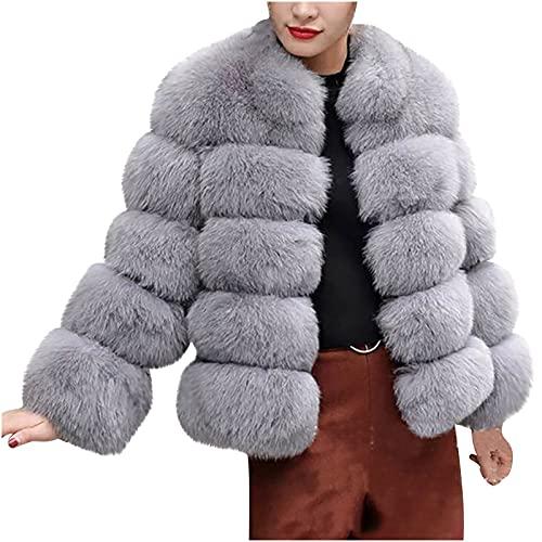 pamkyaemi Chaqueta de invierno para mujer, de forro polar, corta, cárdigan de manga larga, de imitación para...