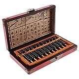 B Blesiya Ábaco de Madera con Caja de Almacenamiento Vintaje Calculador Afortunada China Regalo para Niños Adultos - 11 Barras: 21.5x11.2x2.1 cm