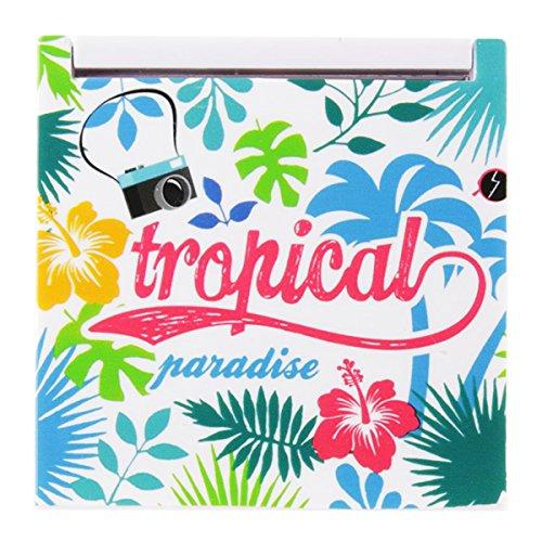 Les Trésors De Lily [Q0503] - Miroir de poche 'Tropical' multicolore - 6.7x6.7 cm