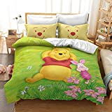 CQLXZ Anime Cartoon Winnie the Pooh Duvet Cover, 2/3 Piece Bedding Set Bear Cartoon Animal Microfibre Duvet Cover with Pillowcase (A, 135 x 200 cm)