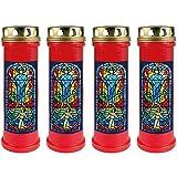 HScandle Grabkerze - 4er Pack - (Rot) Grablicht ca. 4 Tage Brenndauer je Kerze - Motiv: Fenster Blau