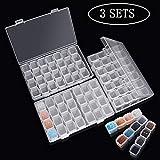 Lot de 3 boîtes de rangement transparentes avec 28 mini compartiments, peinture diamant 5D et outils de point de croix pour bricolage, artisanat.