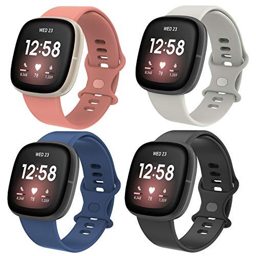 Simpeak Correa Compatible con Fitbit Versa 3/Fitbit Sense(5.5-6.7), Silicona Reloj de Recambio Brazalete Coloridos Compatible con Fitbit Versa 3/Fitbit Sense, Negro/Gris/Azul/Rosa