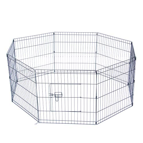 NA Pet Playpen Kennels Dog Fence Exercise Pen Gate Fence Foldable Dog Crate 8Panels 24 Inch Options Ideal for Pet Animals Dog Cat Rabbit Breed Puppy Outdoor Indoor Categories