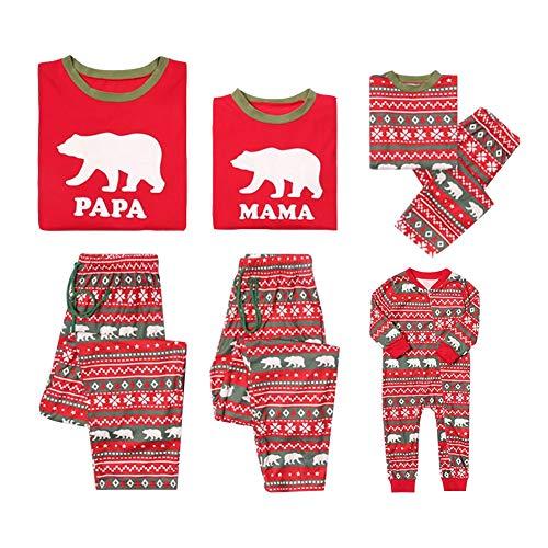 Aibayleef Pyjama de Noël Famille Ensemble Père Noël Neige Wapiti Fauve Femme Homme Enfant Bébé Fille Garçon Tops T-Shirt + Pantalon - Pyjamas de Famille Vêtements de Nuit Sleepwear