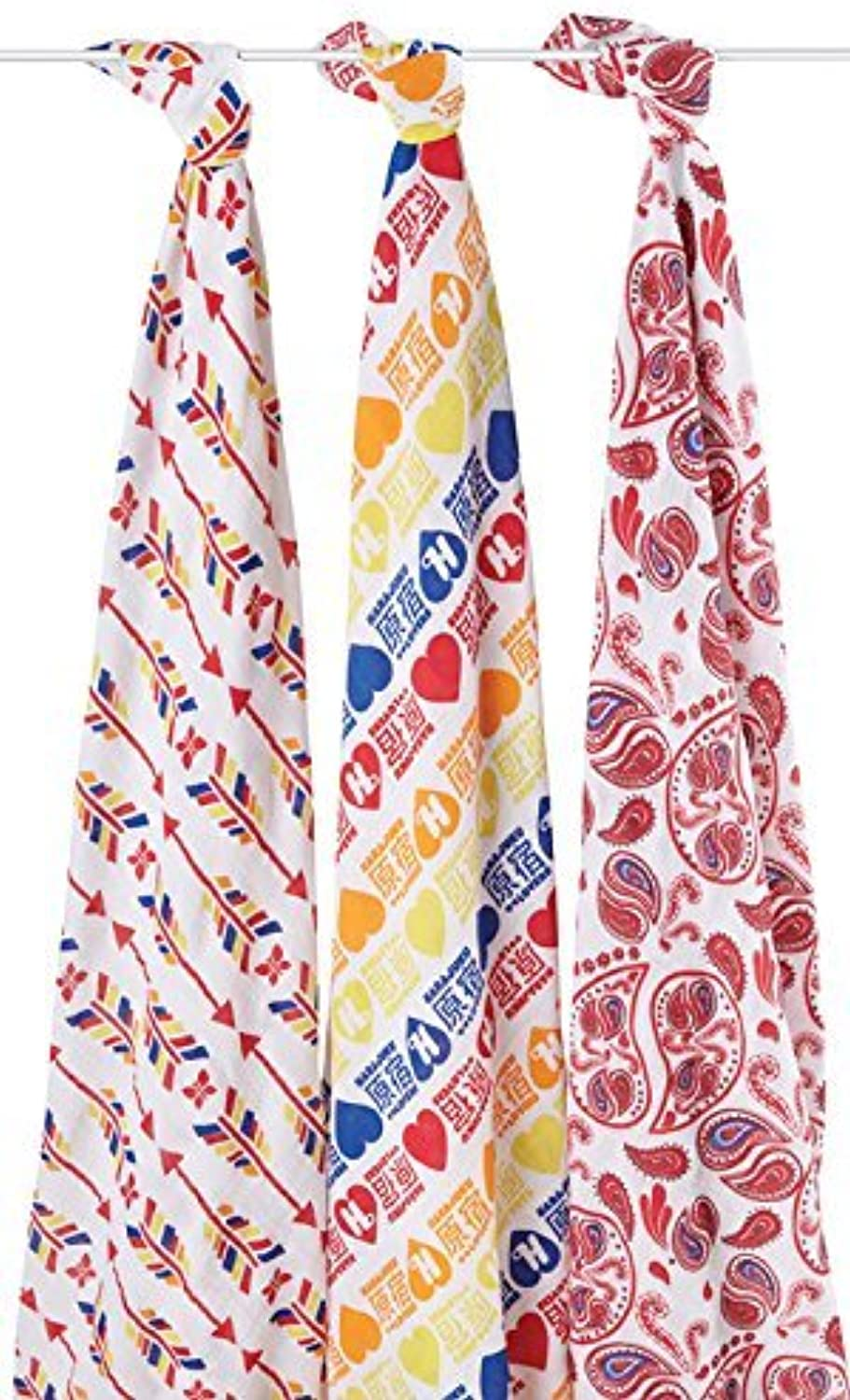 Aden+Anais Red Special Edition Organic Designer swaddles (3-Pack)
